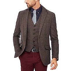 Hammond & Co. by Patrick Grant - Big and tall brown houndstooth wool 'Penteadora' blazer