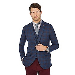 Hammond & Co. by Patrick Grant - Big and tall woven check navy ashmore woven check blazer with wool
