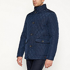 Hammond & Co. by Patrick Grant - Big and tall navy fleece lined quilted jacket