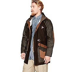 Daniel Rynne - Khaki cotton and wool blend union patchwork coat