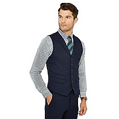 Hammond & Co. by Patrick Grant - Big and tall navy basketweave waistcoat with wool