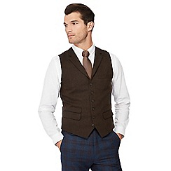 Hammond & Co. by Patrick Grant - Big and tall brown basket weave waistcoat with wool
