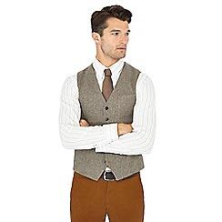 Hammond & Co. by Patrick Grant - Big and tall natural 'moon' herringbone wool waistcoat