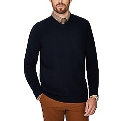 440b3a9a828 Hammond   Co. by Patrick Grant - Big and tall navy honeycomb wool rich  jumper