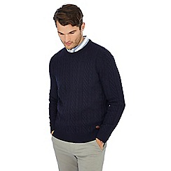 Hammond & Co. by Patrick Grant - Navy cable knit wool rich jumper