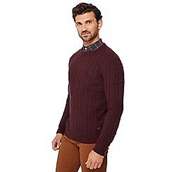 Hammond & Co. by Patrick Grant - Dark purple cable knit wool rich jumper