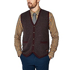 Hammond & Co. by Patrick Grant - Big and tall maroon dogtooth lambswool rich waistcoat