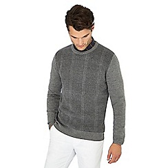 Hammond & Co. by Patrick Grant - Grey checked knitted wool rich jumper