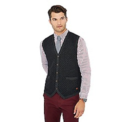 Hammond & Co. by Patrick Grant - Grey diamond print V-neck lambswool rich waistcoat