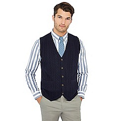 Hammond & Co. by Patrick Grant - Navy cable knit V-neck lambswool rich waistcoat