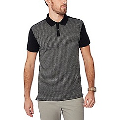 Hammond & Co. by Patrick Grant - Black dogtooth print polo shirt