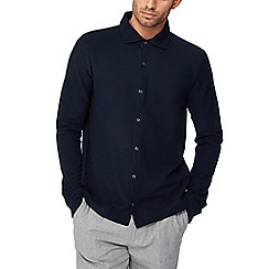 Hammond & Co. by Patrick Grant - Navy honeycomb textured long sleeve regular fit shirt