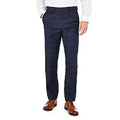 Hammond & Co. by Patrick Grant - Navy checked 'Ashmore' trousers with wool
