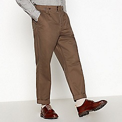 Daniel Rynne - Khaki cotton pleat work trouser tapered fit trousers