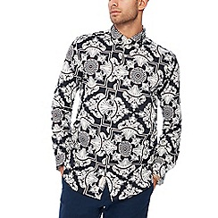 Hammond & Co. by Patrick Grant - Navy floral print long sleeve tailored fit shirt
