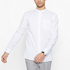 Hammond & Co. by Patrick Grant - Off White Striped Grandad Collar Long Sleeve Regular Fit Shirt