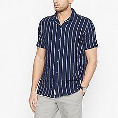 Hammond & Co. by Patrick Grant - Navy Waffle Stripe Short Sleeve Regular Fit Shirt
