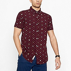 Hammond & Co. by Patrick Grant - Big and tall dark red diamond motif short sleeve regular fit shirt