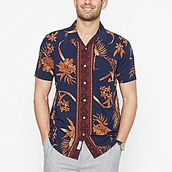 Hammond & Co. by Patrick Grant - Tan Floral Short Sleeve Regular Fit Shirt