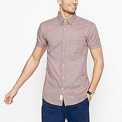 Hammond & Co. by Patrick Grant - Big and tall dark red dobby check short sleeve regular fi shirt