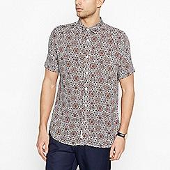 Hammond & Co. by Patrick Grant - Tan Tile Pattern Short Sleeve Regular Fit Shirt