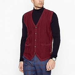 Hammond & Co. by Patrick Grant - Maroon Cable Knit Tank Top with Wool