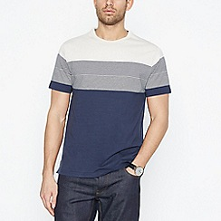 Hammond & Co. by Patrick Grant - Navy Placement Stripe Cotton T-Shirt