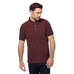 Hammond & Co. by Patrick Grant - Dark red floral embroidered polo shirt