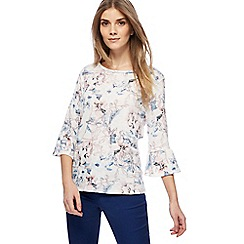 The Collection - White leaf print bell sleeves top
