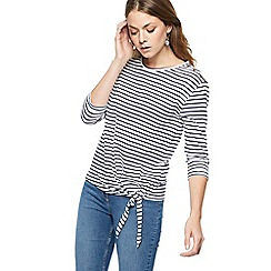 The Collection - Navy striped tie front top
