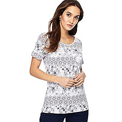The Collection - White mosaic print round neck t-shirt