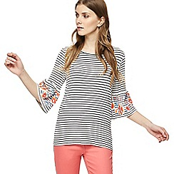The Collection - White striped floral embellished top
