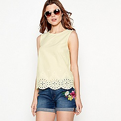 The Collection - Light yellow broderie detail cotton round neck shell top