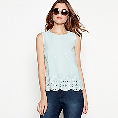 The Collection - Turquoise broderie detail cotton round neck shell top