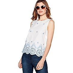 The Collection - White broderie detail round neck shell top