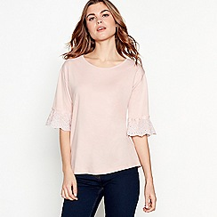 The Collection - Light pink ruffle sleeve round neck top