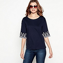 The Collection - Navy ruffle sleeve round neck top