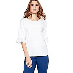 The Collection - White ruffle sleeve round neck top