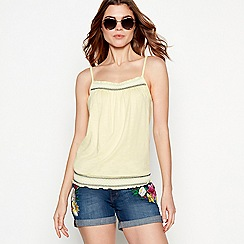 The Collection - Light yellow embroidered detail cotton blend camisole top
