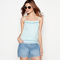 The Collection - Aqua embroidered detail cotton blend camisole top