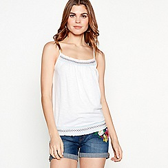 The Collection - White embroidered detail cotton blend camisole top