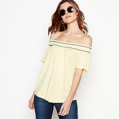 The Collection - Yellow embroidered cotton modal shirred Bardot neck top