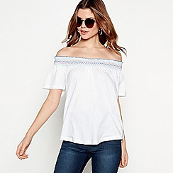The Collection - White embroidered cotton modal shirred Bardot neck top