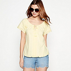 The Collection - Yellow crochet cotton modal blend bubble top
