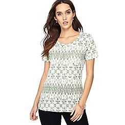 The Collection - Green printed round neck t-shirt