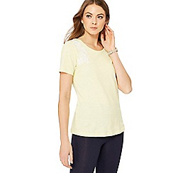 The Collection - Yellow floral embroidered t-shirt