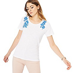The Collection - White floral embroidered t-shirt
