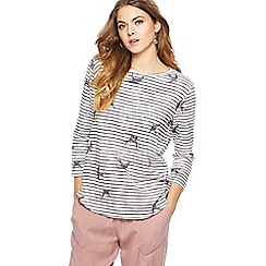The Collection - White striped swallow print top