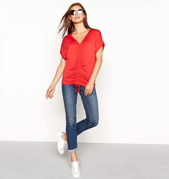 Collection The short neck sleeve Red V top front ruched FwqwCa