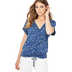 The Collection - Blue bird print ruched front top